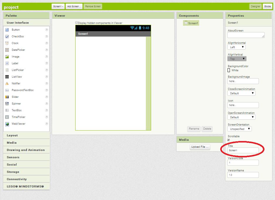 how to change start screen in app inventor 2